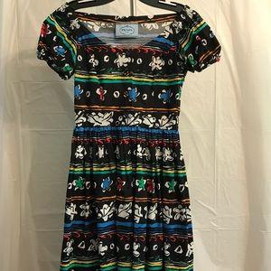 Prada Black Multicolor Cotton Floral Print Dress